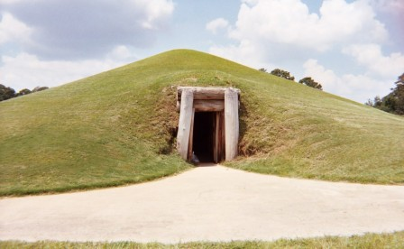 "The low doorway into the Ocmulgee earth lodge, a ""mound with a central chamber."" (Photo © 2004, Gary C. Daniels)"