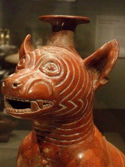 Colima dog pot with facial scarring