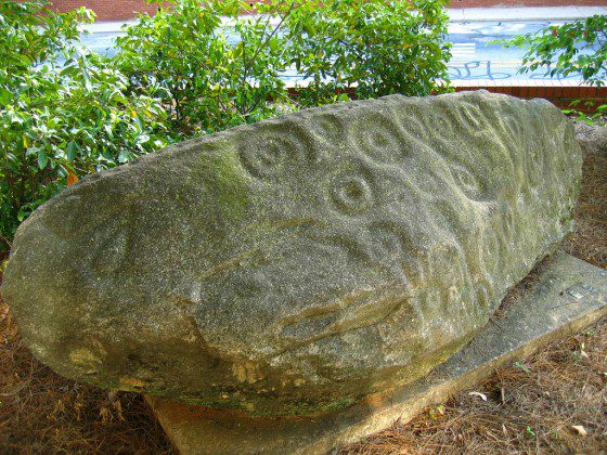 View of the Forsyth petroglyph at the University of Georgia