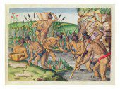 """How the Indians collect gold from the streams"" by Jacques Le Moyne, an artist at the first French colony in the New World at Fort Caroline in Florida."