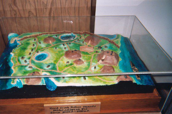Model of Rood's Creek Indian Mounds in Kirby Interpretative Center.