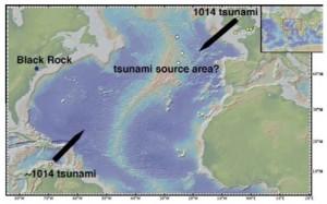 1014 AD comet impact and tsunami map