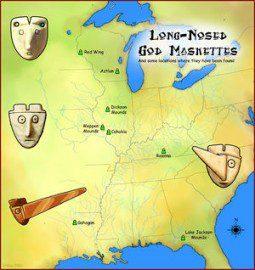 Long-nosed God maskettes map