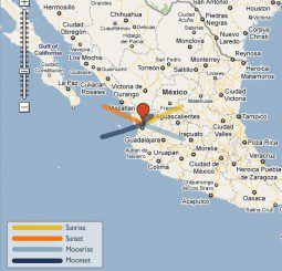 Direction of Sunrise on the summer solstice in Nayarit, Mexico