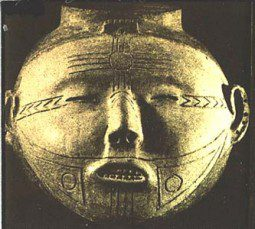 Caddoan head pot with Puebloan sun symbol