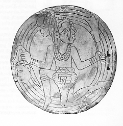Mississippian shell gorget: Forked-eye Warrior with ceremonial mace and severed head
