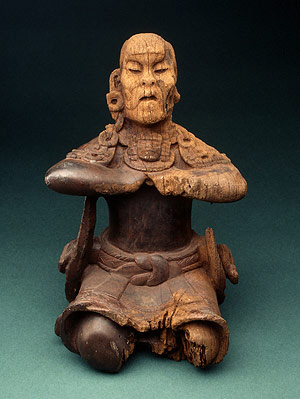 """Mirror Bearer"" Maya wood sculpture"