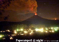 Popocateptl Volcano erupting at night