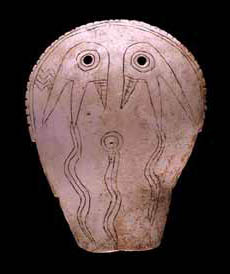 Shell mask with weeping eye motif