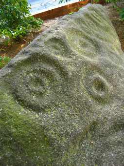 Close up view of Forsyth Petroglyph at the University of Georgia library.