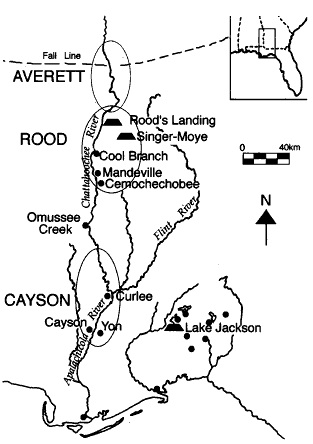 Mound centers in the lower Chattahoochee- Apalachicola River Valley between 1100-1250 AD. (c) 2002 Used under fair use provisions of copyright law.