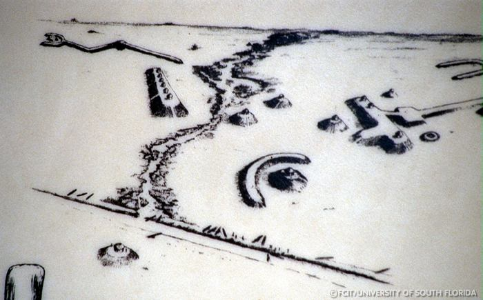 Artist's interpretation of Ortona Indian Mounds site in Florida.